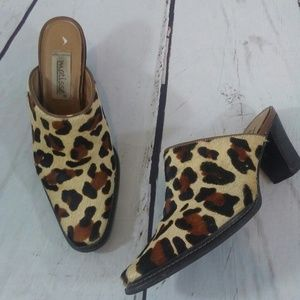 Matisse calf hair animal print mules